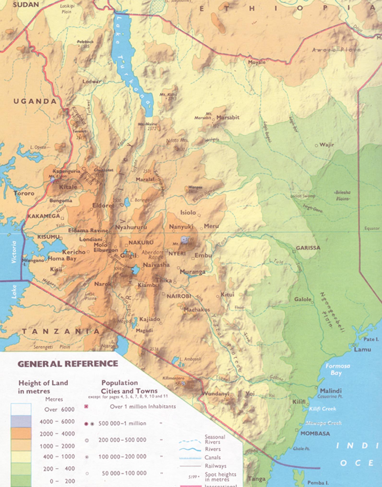 Kenia Karte.Keniakarte Physisch Kopie Wasser Für Kenia
